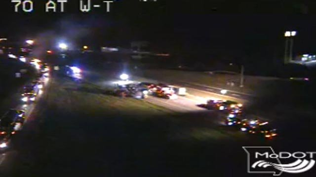 Emergency crews of westbound I-70 following a Tuesday morning crash (Credit: MoDOT)
