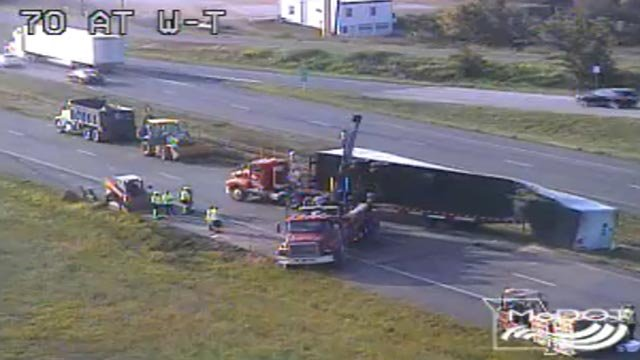Crews working to clear a crash on westbound I-70 in St. Charles County (Credit: MoDOT)