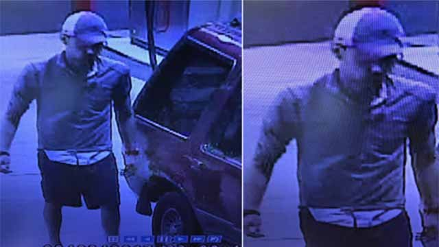 A gas thief hit Zinger's Mart on Jeffco Blvd 3 times in 9 days. His SUV has stuck door, no back window. Credit: Arnold Police