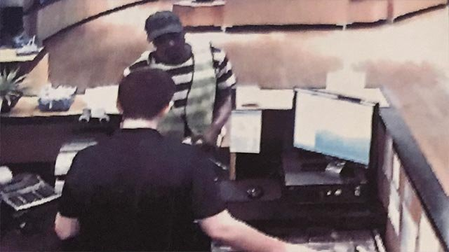 Surveillance photo of a Webster Groves bank robbery suspect (Credit: Webster Groves Police)