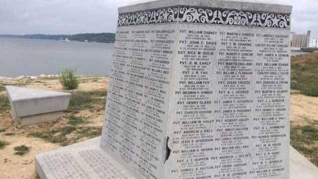 A Confederate memorial in West Alton. Credit: KMOV