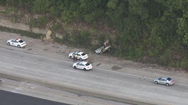 Skyzoom4 over the scene of a fatal crash on WB I-44 Friday (Credit: KMOV)