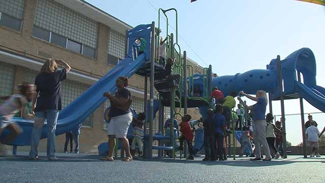 One principal worked with students to rebuild a safe playground to enjoy recess. (Credit: KMOV)
