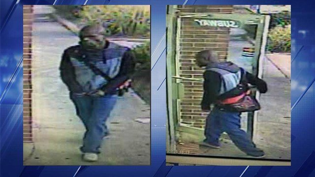 Surveillance photos of the robbery suspect. (St. Louis Metropolitan PD)