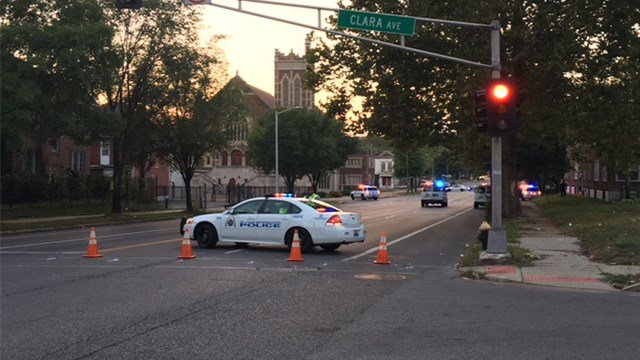 The scene at Page and Clara after a triple shooting on Saturday. (KMOV)