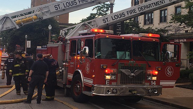 Firefighters worked to put out a two alarm fire in the 1900 block of South Grand Sunday evening. (KMOV)