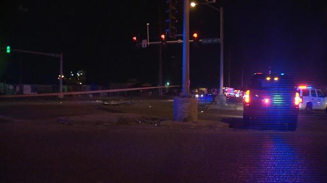 A man was killed during a crash around 12:30 a.m. Monday at Adelaide and Hall (Credit: KMOV)