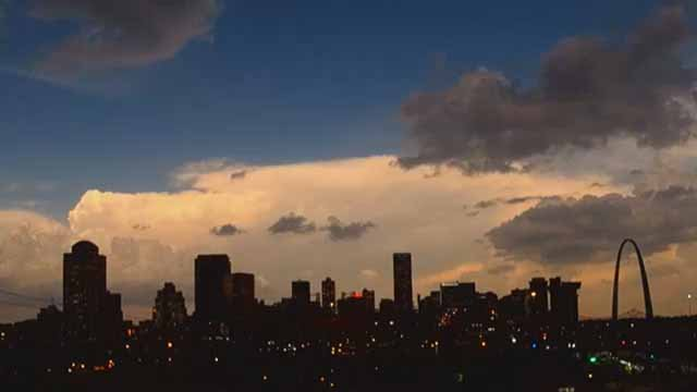 Downtown St. Louis during the solar eclipse. Credit: KMOV