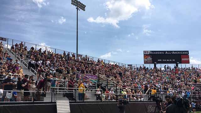 Thousands packed Saluki Stadium to watch the total solar eclipse. Credit: KMOV