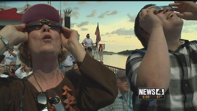 Many people got to watch the total solar eclipse from the boat Tom Sawyer on the Mississippi River. Credit: KMOV