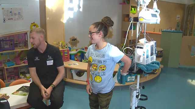 Charlie Kimball visited Children's Hospital on Thursday. Credit: KMOV