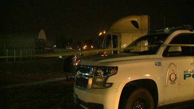 A truck where a driver was shot Friday morning in North City (Credit: KMOV)