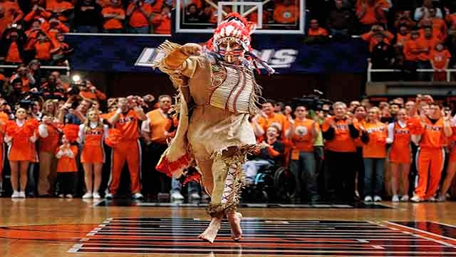 In this Feb. 21, 2007 file photo, University of Illinois mascot Chief Illiniwek performs for the last time during an Illinois basketball game in Champaign, Ill. (AP Photo/Seth Perlman, File)