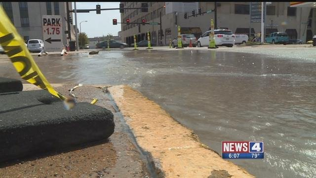 This water main broke in late July near the intersection of Tucker and Convention Plaza. Credit: KMOV