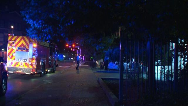Emergency crews at Grand and Gravois after a man was shot Monday (Credit: KMOV)