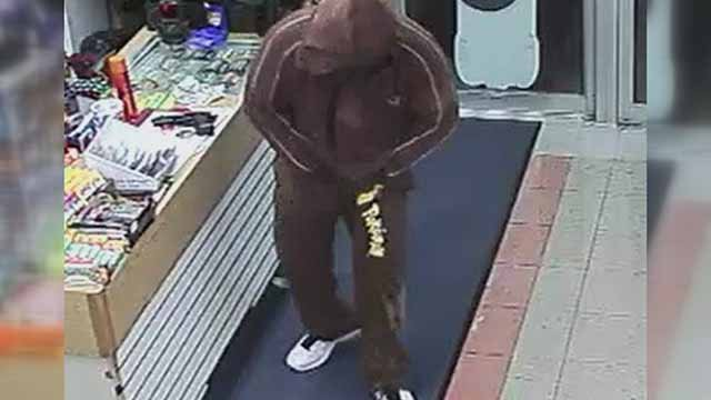 Surveillance cameras were rolling when this man robbed a Mobil station on 12th Street in Carlyle around 5:15 a.m.  Monday .Credit: Clinton County Sheriff