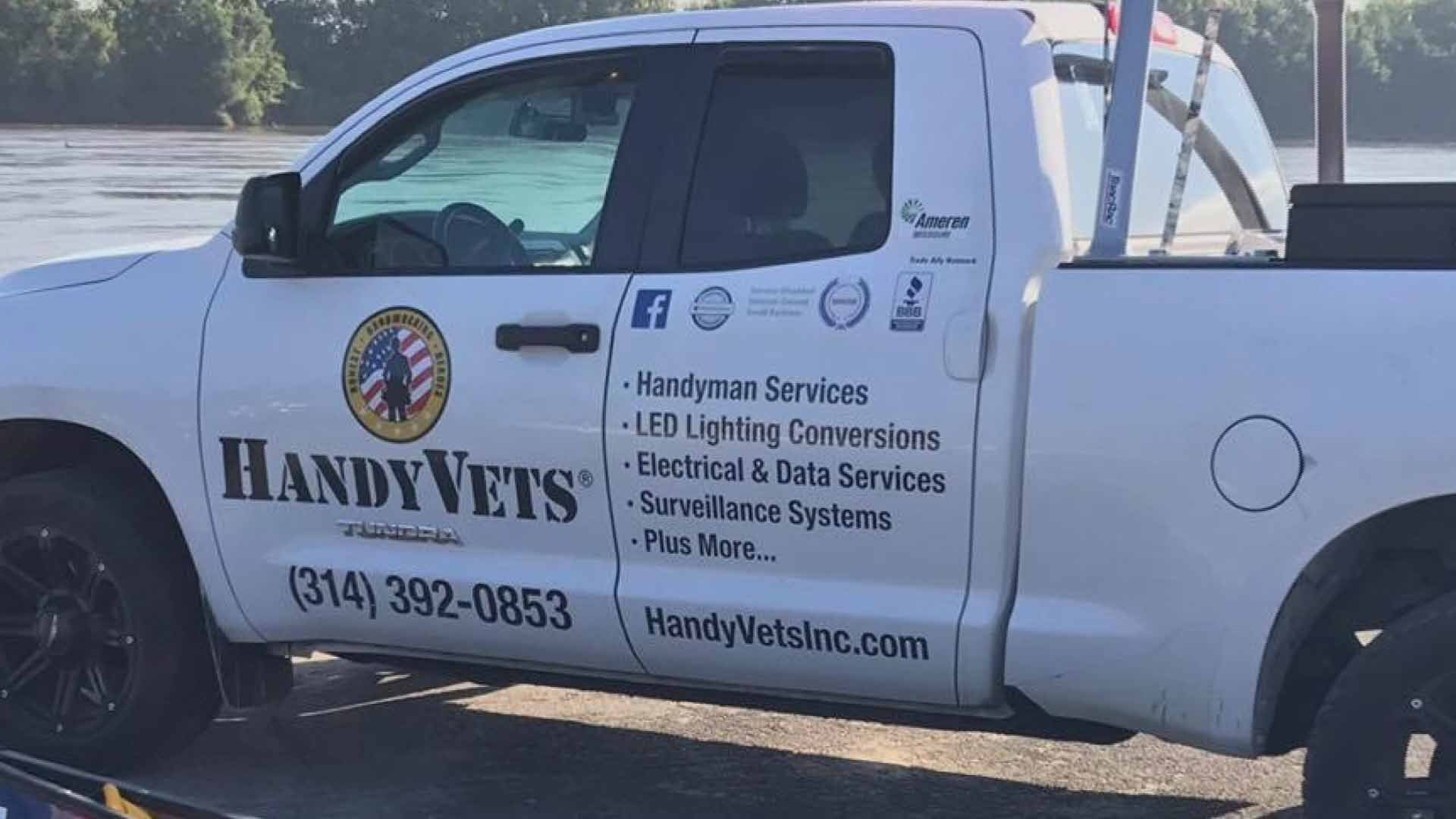 Overland Police detectives are investigating the theft of a work truck owned by a company called, HandyVets.  Credit: KMOV