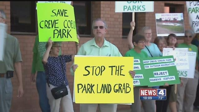 A St. Louis Co. Council meeting over a proposed ice rink at Creve Coeur Park drew supporters and protesters. Credit: KMOV