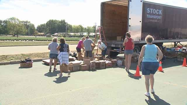 People in New Baden, Illinois are helping victims from Hurricane Harvey. Credit: KMOV