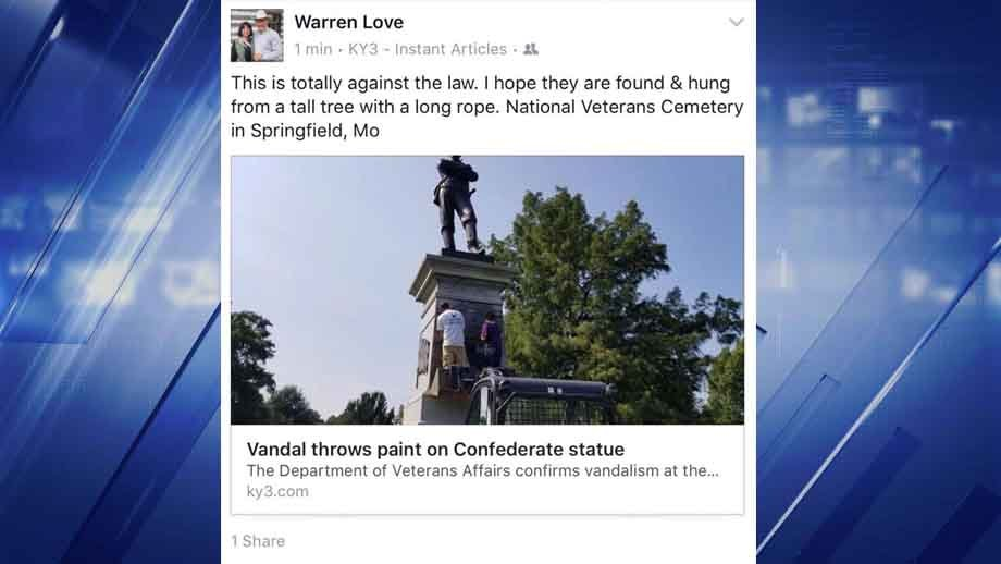 Some are calling for Mo. State Rep. Warren Love to resign over this Facebook post. Credit: KMOV