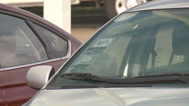 A Lyft driver's car at Lambert Airport. Credit: KMOV