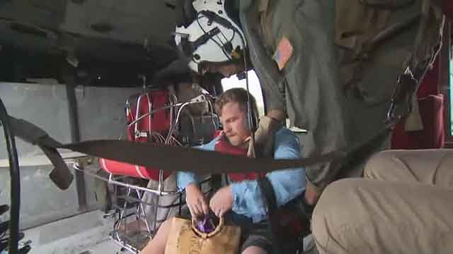 Navy helicopter pilots Steve Rosner and Tony Arrow have been helping rescue victims of Hurricane Harvey. Credit: KMOV