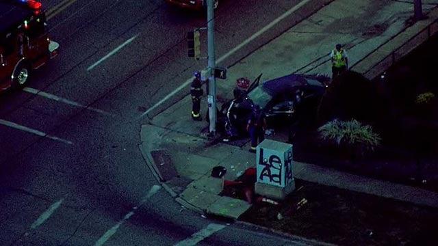 Emergency crews at West Florissant and Ferguson following a Thursday morning crash (Credit: KMOV)