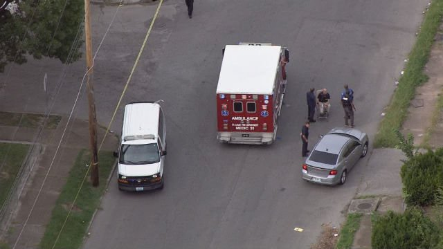 Sky-Zoom 4 captures the officer involved in the shooting on Aug. 31. (KMOV)