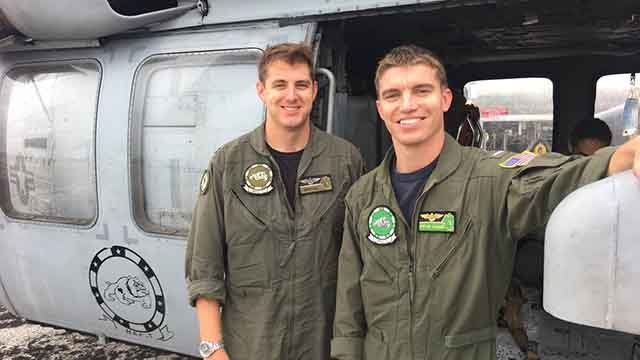 Lieutenant Tony Arrow and Lieutenant Junior Grade Steven Rosner are rescuing people trapped by floodwaters left behind by Hurricane Harvey. Credit: KMOV