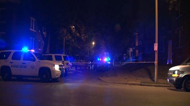 Police at Pennsylvania and Osage following a double shooting Friday (Credit: KMOV)