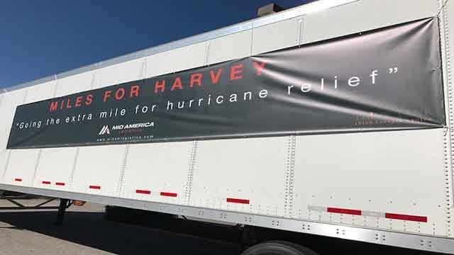 Des Peres police and firefighters are teaming up with mid America Logistics to donate school supplies to students in Texas affected by Hurricane Harvey (Credit: KMOV)