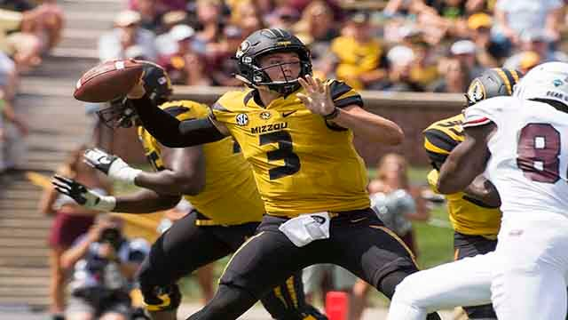 Missouri quarterback Drew Lock throws a pass during the third quarter of an NCAA college football game against Missouri State Saturday, Sept. 2, 2017, in Columbia, Mo. Missouri won 72-43. (AP Photo/L.G. Patterson)