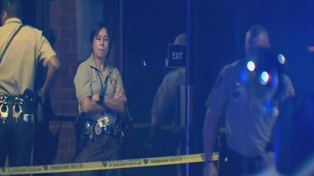 St. Louis County Police outside The Laugh Lounge STL after a man was shot Monday (Credit: KMOV)