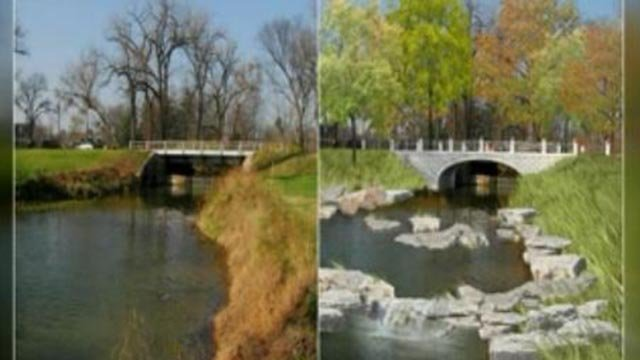 Bridge that will be demolished between The Boathouse and The Muny (L) and a rendering of what the completed project will look like (R) (Credit: KMOV / Forest Park Forever)