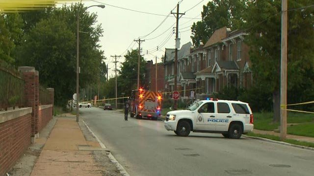 Emergency crews in the 1700 block of North Euclid Avenue after a teen was shot Tuesday (Credit: KMOV)