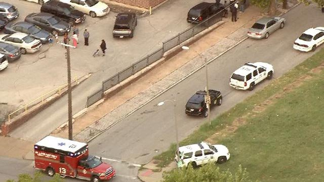 Police in the area of Maffitt and Goodfellow after an officer was dragged during a traffic stop Tuesday (Credit: KMOV)