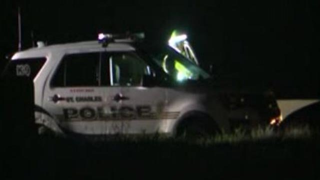 A St. Charles police vehicle was rear-ended Wednesday (Credit: KMOV)