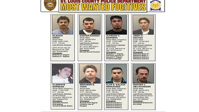 The eight most wanted fugitives in St. Louis County (Credit: St. Louis County PD)