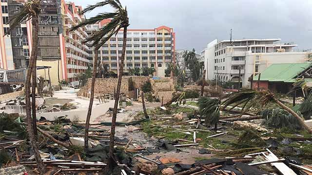 This Sept. 6, 2017 photo shows storm damage in the aftermath of Hurricane Irma in St. Martin. Irma cut a path of devastation across the northern Caribbean, leaving thousands homeless after destroying buildings and uprooting trees. (Jonathan Falwell via AP