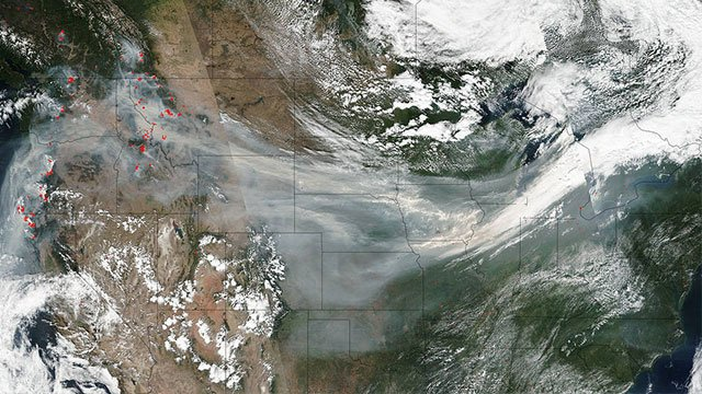 Image from NASA shows smoke across the US