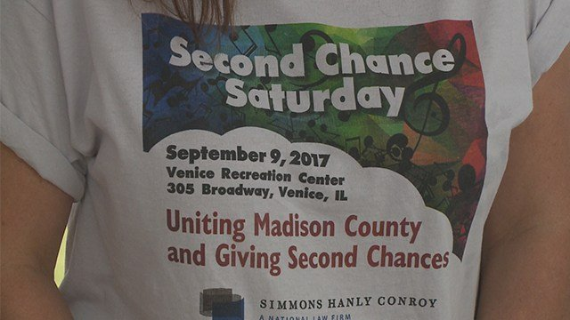 """Dozens of people gathered in Venice, Ill.on Saturday for """"Second Chance Saturday."""" (KMOV)"""