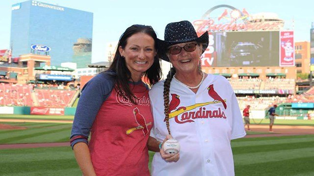 Nurse Angie Filipiak and patient Lynn Cheeney at Busch Stadium on Saturday. (SSM Health)