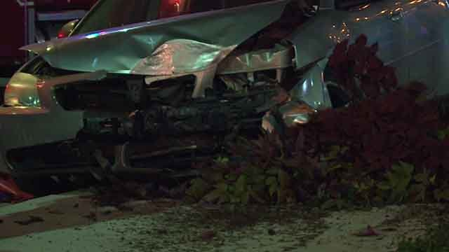 This car suffered severe front end damage during an accident on 4th Street near Busch Stadium (Credit: KMOV)