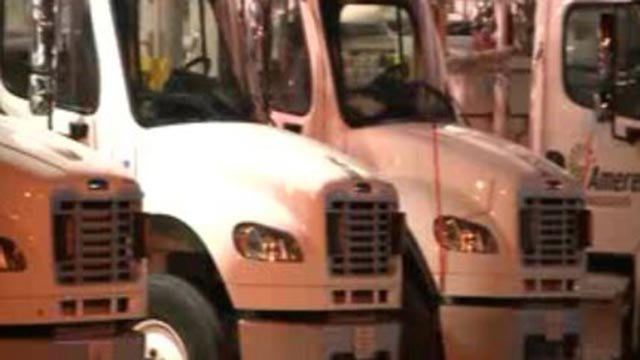 Ameren trucks lined up before heading to assist with power restoration (Credit: KMOV)