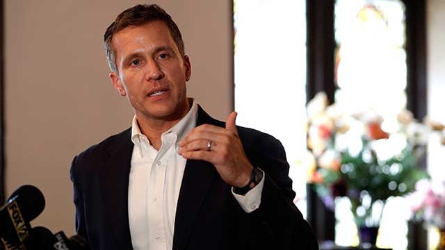 Gov. Eric Greitens speaks to the media after meeting with clergy at Washington Metropolitan AME Zion Church ahead of a verdict in the trial of former St. Louis police officer Jason Stockley Monday, Sept. 11, 2017, in St. Louis.  (AP Photo/Jeff Roberson)
