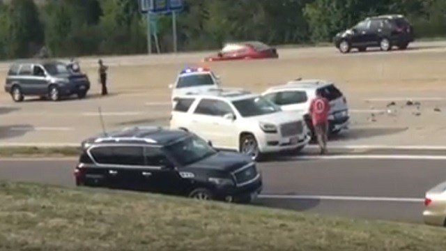 A multi-car wreck has closed all lanes of EB I-64 and Highway 94. Credit: KMOV