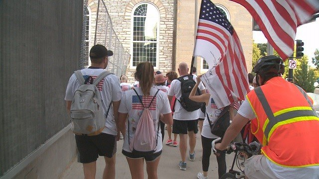 Dozens march to the St. Louis Arch as part of the 12th Anniversary since the freedom walk began in 2005. (Credit: KMOV)