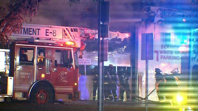 Firefighters at Broadway Ford Truck Sales & Services Tuesday (Credit: KMOV)
