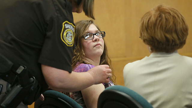 (Michael Sears/Milwaukee Journal-Sentinel via AP, Pool) In this Feb. 20, 2017 file photo, Anissa Weier, appears in court in Waukesha, Wis. A jury is set to begin Monday, Sept. 11, deciding whether Weier, one of two girls accused of trying to sacrifice...