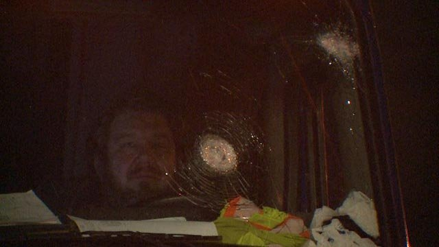 The windshield of a semi-truck was damaged by rocks overnight in St. Charles County (Credit: KMOV)